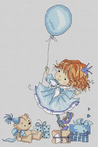 вышивка крестиком девочка с шариком