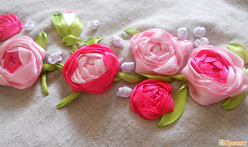 """Роза - цветок """"паутинка"""" с помощью лент"""