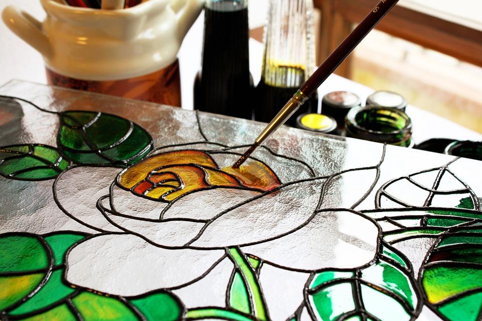 рисование красками по стеклу